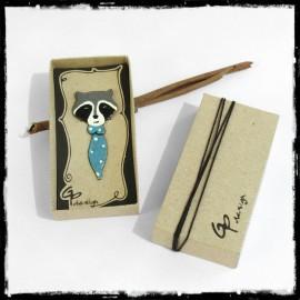 Marque-Page raton laveur Signet original animal emaux sur cuivre