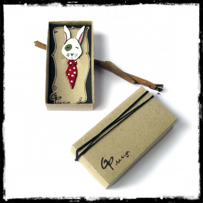 white rabbit  bookmark enamel on copper