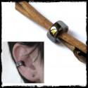 ear ring ear cuff modern metallic gray hematite effect enamel on copper
