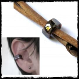 Bague d'oreille ear cuff moderne effet hématite gris métallisé -Emaux sur cuivre
