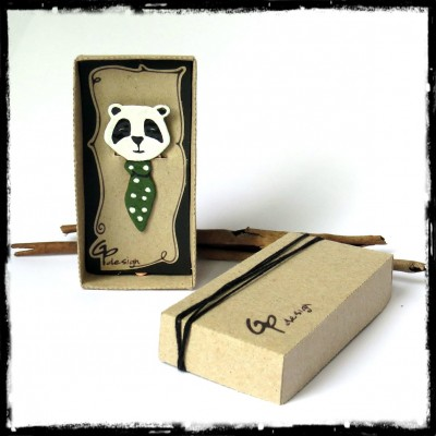 panda bookmark copper enamel original model