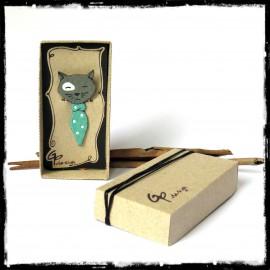 Marque-Page chat gris Signet original animal emaux sur cuivre