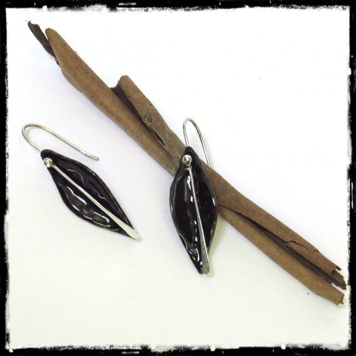 Pierced ears black form sheet Knee-Length Silver - Design - Enamel on copper - Brilliant black