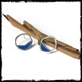 Boucles d'oreilles Design Argent massif et emaux en plique à jour bleu- Modernes et originales