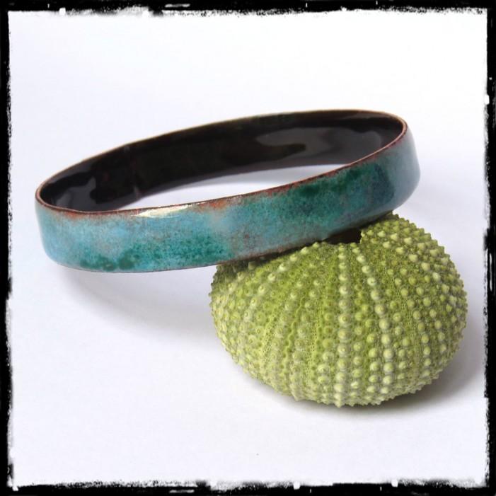 Bracelet jonc large rustique - Emaux sur cuivre - personnalisable