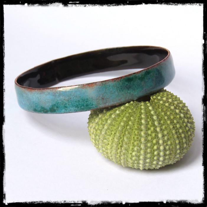 Wide bangle copper covered with enamel - on order -