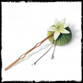 flower hair stick enamel copper wedding jewelry yellow white ceremony