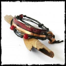Bracelet wrap multi-tours rouge profond et cuivre émaux sur cuivre -rustique et moderne
