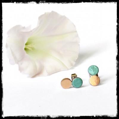 """Clous d'oreilles """"double"""" puces en émaux -tige acier inoxydable - vert turquoise -design et modernes"""