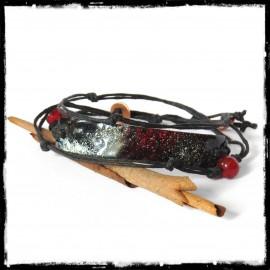 Bracelet multi tours - Moderne et original - Emaux sur cuivre rouge et noir - ajustable