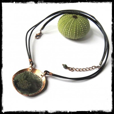 designer pendant necklace rustic green and grey enamel on copper - black leather cord