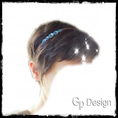 Headband romantique en émaux sur cuivre - bleu - petites fleurs - chaine et perles de verre