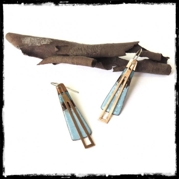 Boucles d'oreilles contemporaines- emaux sur cuivre bleu turquoise marron argent 925