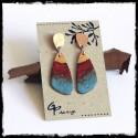 Longues Boucles d'oreilles modernes -design original contemporain- emaux sur cuivre turquoise -rouge tige argent massif