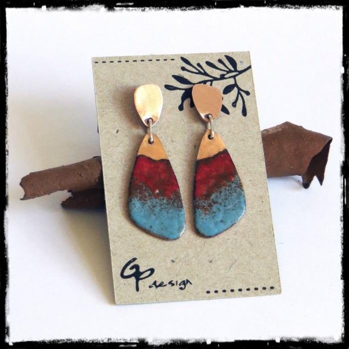 Boucles d'oreilles contemporaines- emaux sur cuivre bleu turquoise rouge tige argent 925