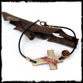 Cross Bracelet vintage style enamel on copper leather cord - jewelry religious-