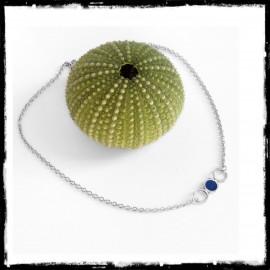 Bracelet fin argent massif et verre bleu chainette fine