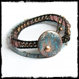 Bracelet leather cuff and medal enamel on copper beads glass rustic style light blue pink