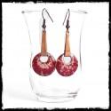 Longues Boucles d'oreilles élégantes style tribal rouge et cuivre - émaux sur cuivre -