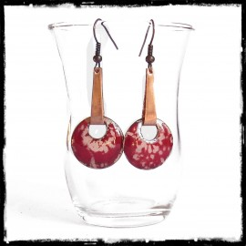 Long Earrings original and elegant tribal or ethnic style red crackle effectnamels on copper -