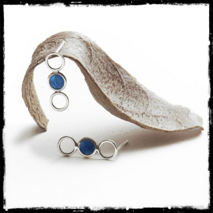 Modern and Design Earrings Sterling silver and Glass- Light and feminine - blue