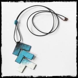 collier sautoir forme geometrique - collier tendance- emaux sur cuivre- collier de créateur