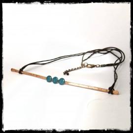 Collier design et minimaliste -  Collier court et moderne- cuivre brut et emaux sur cuivre- collier ras cou-