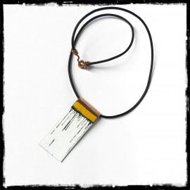 Collier pendentif style design minimaliste- émaux sur cuivre - forme géometrique- jaune noir blanc
