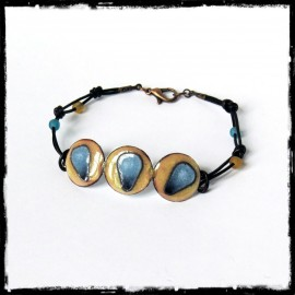 Pretty bracelet creator - enamels on copper - Laces round brown leather adorned with glass beads - on order Model