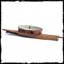 Bracelet jonc large rustique - Emaux sur cuivre - jonc rustique cuivre
