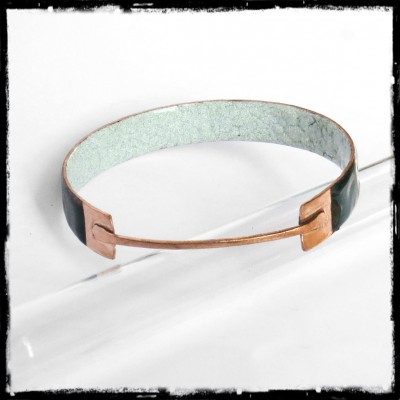 large Bangle Design - enamels on copper and raw copper - Rush wide - transparent glazes green emerald