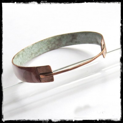 Bangle Design - enamels on copper and raw copper - Rush wide - transparent glazes brown