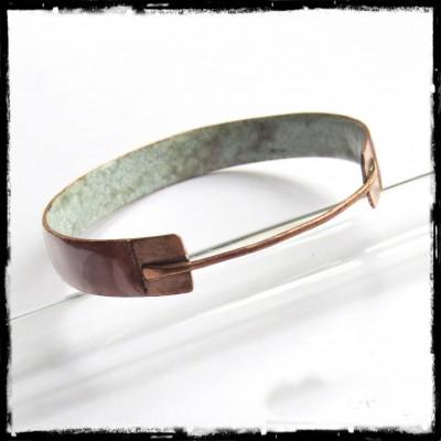 Bracelet jonc Design - émaux sur cuivre et cuivre brut - Jonc large - émaux transparents marron