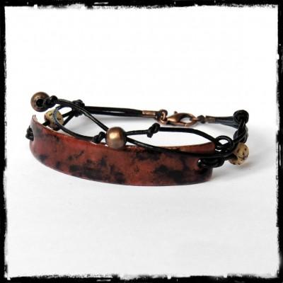 Bracelet style rustique multi tours - Montage Moderne et original - Emaux sur cuivre marron veiné noir - Bracelet de créateur