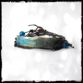 Bracelet multi tours - Moderne et original - Emaux sur cuivre  bleu transparent - ajustable
