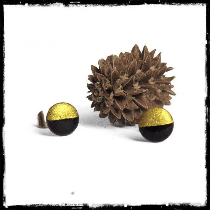 Puces or et noires emaux sur cuivre rondes petites bijoux chic