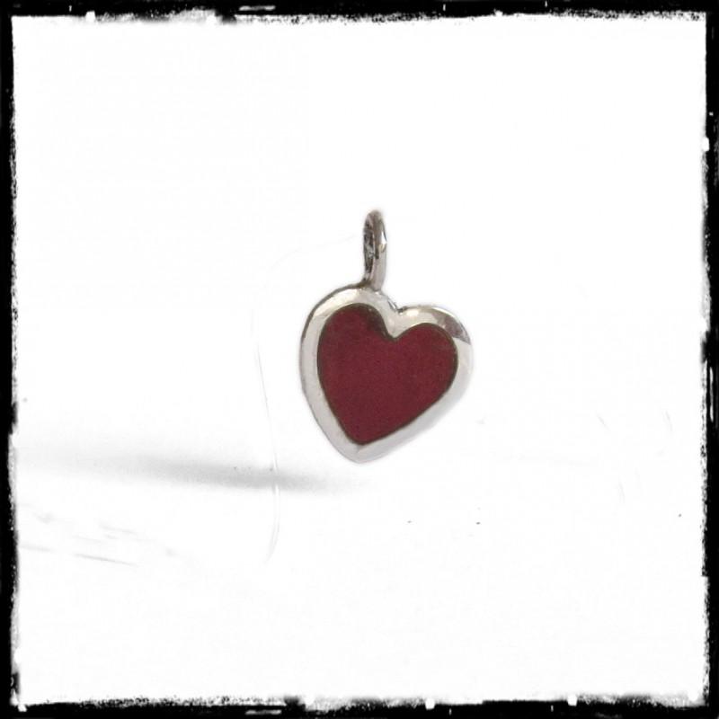 collier pendentif petit coeur rouge argent massif et verre cadeau saint valentin. Black Bedroom Furniture Sets. Home Design Ideas